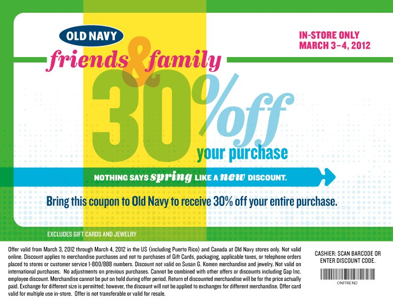 05a544e8f Head on over to Old Navy s Facebook page where you can score a coupon good  for 30% off your entire purchase